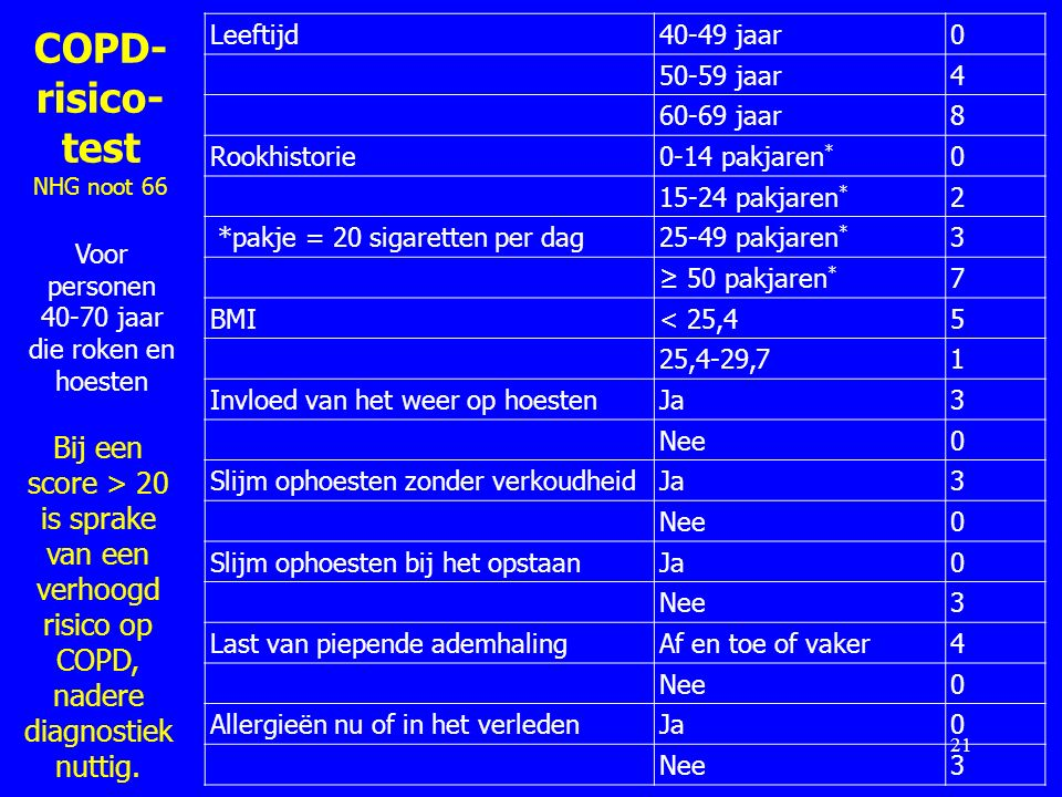 COPD-risico-test NHG noot 66