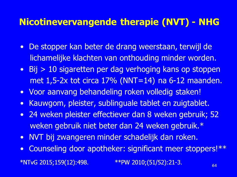 Nicotinevervangende therapie (NVT) - NHG