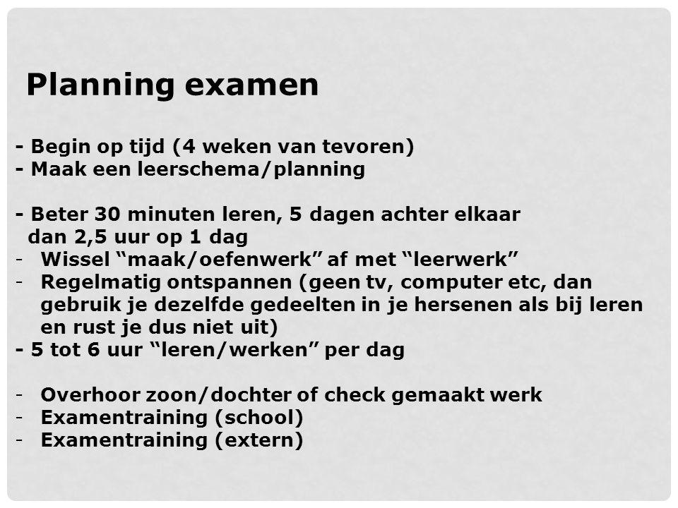 Planning examen - Begin op tijd (4 weken van tevoren)