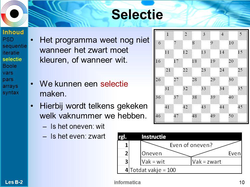 Selectie Inhoud. PSD. sequentie. iteratie. selectie. Boole. vars. pars. arrays. syntax.