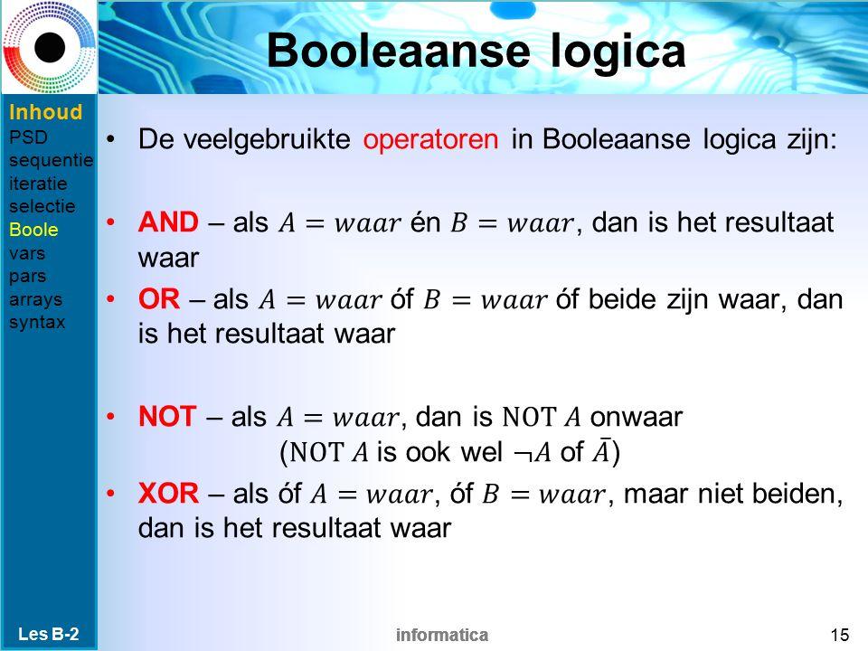 Booleaanse logica Inhoud. PSD. sequentie. iteratie. selectie. Boole. vars. pars. arrays. syntax.