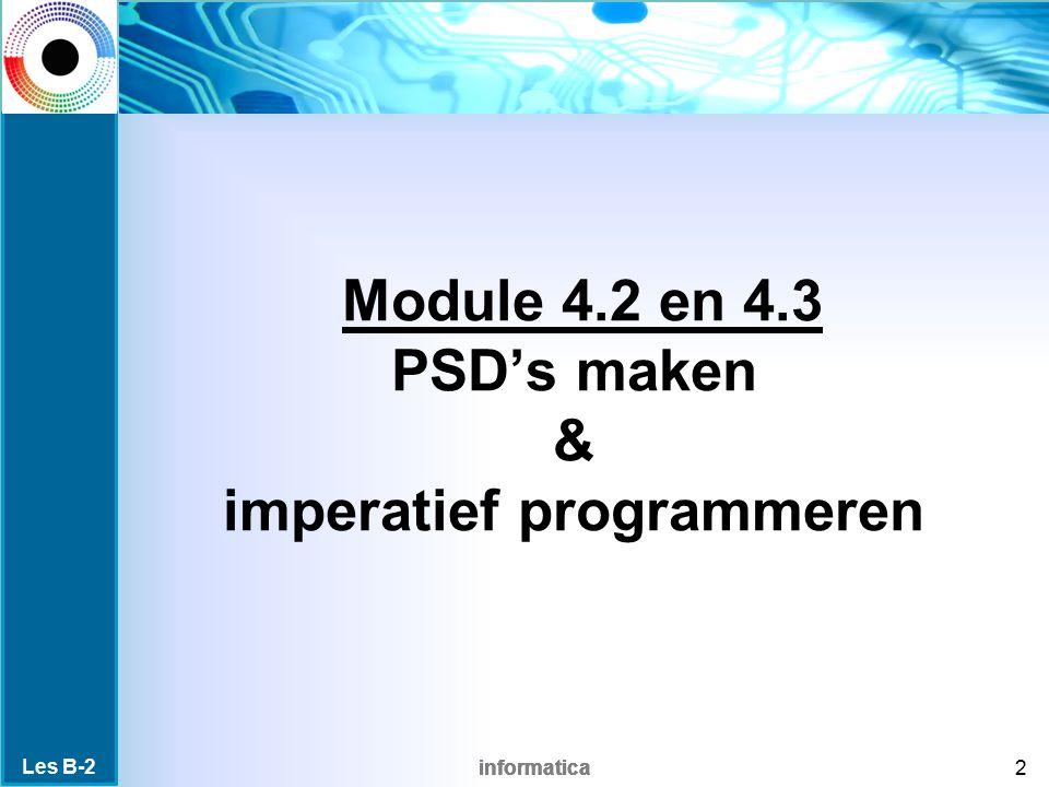 Module 4.2 en 4.3 PSD's maken & imperatief programmeren