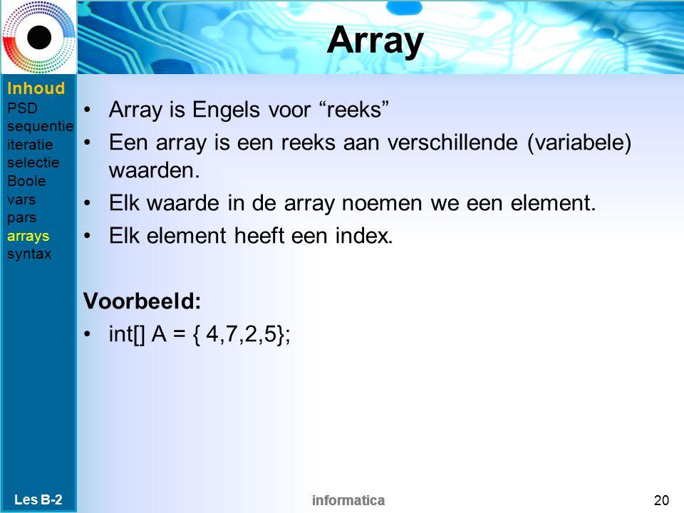 Array Array is Engels voor reeks