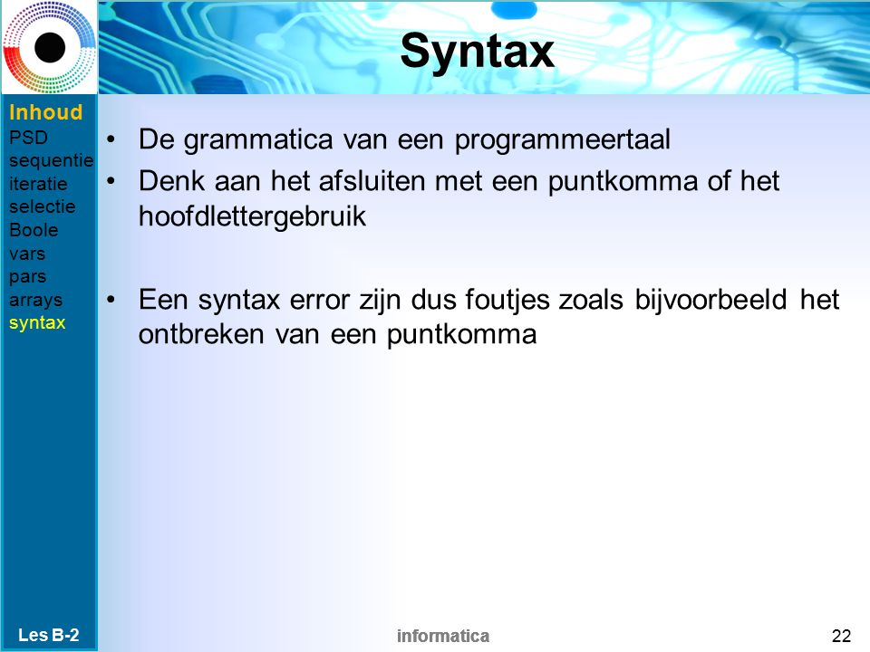 Syntax De grammatica van een programmeertaal