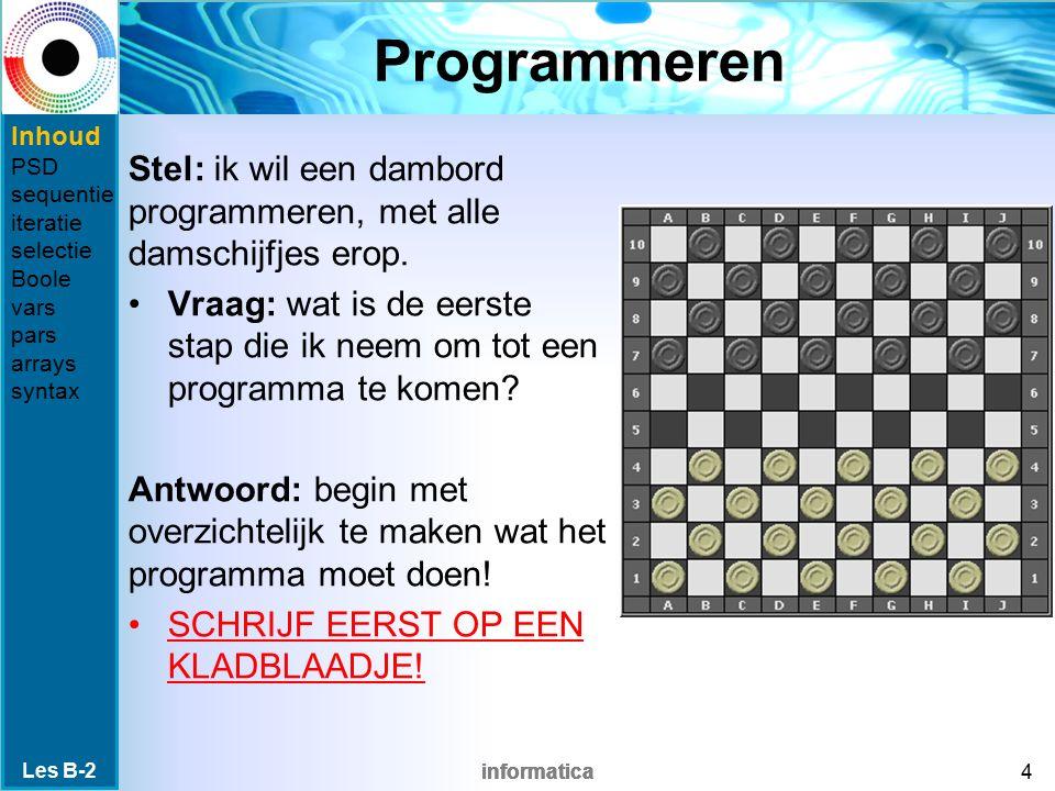 Programmeren Inhoud. PSD. sequentie. iteratie. selectie. Boole. vars. pars. arrays. syntax.