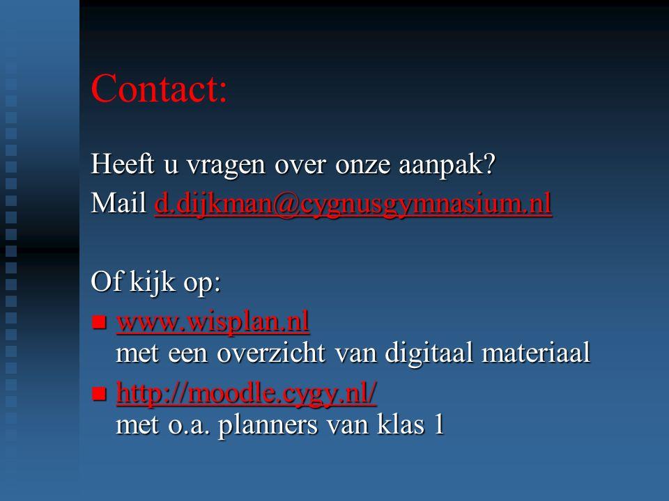 Contact: Heeft u vragen over onze aanpak