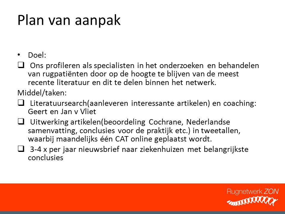 Plan van aanpak Doel: