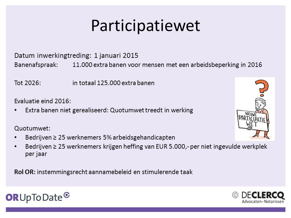 Participatiewet Datum inwerkingtreding: 1 januari 2015