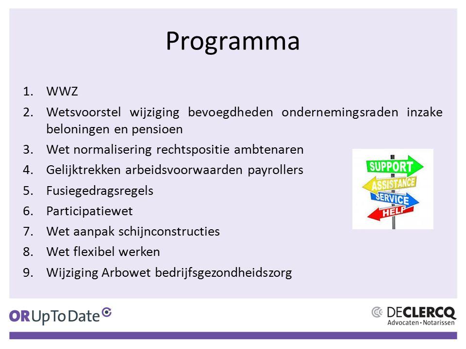 Programma WWZ. Wetsvoorstel wijziging bevoegdheden ondernemingsraden inzake beloningen en pensioen.