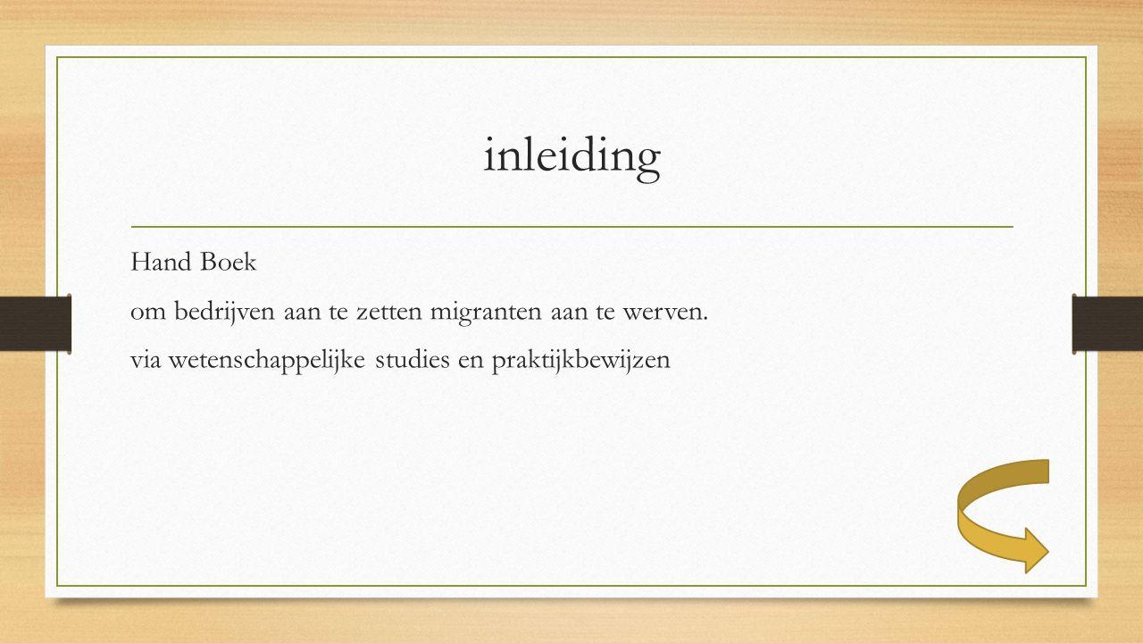 inleiding Hand Boek om bedrijven aan te zetten migranten aan te werven.