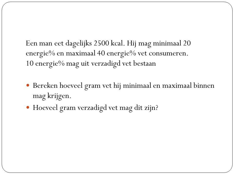 Een man eet dagelijks 2500 kcal