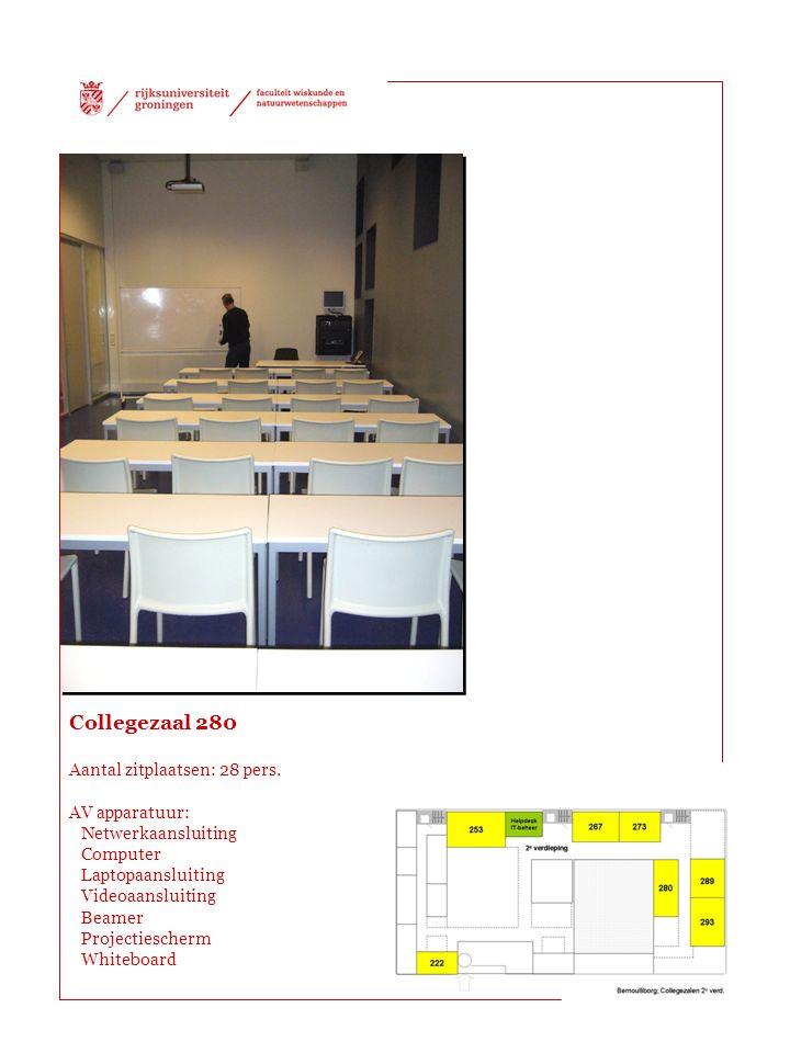 Collegezaal 280 Aantal zitplaatsen: 28 pers. AV apparatuur: