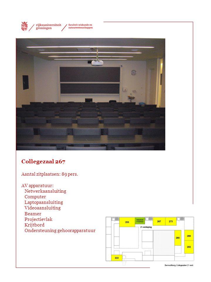 Collegezaal 267 Aantal zitplaatsen: 89 pers. AV apparatuur: