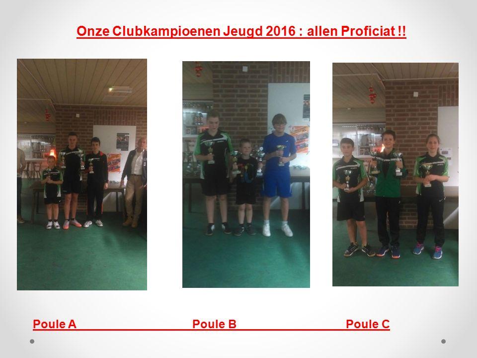 Onze Clubkampioenen Jeugd 2016 : allen Proficiat !!