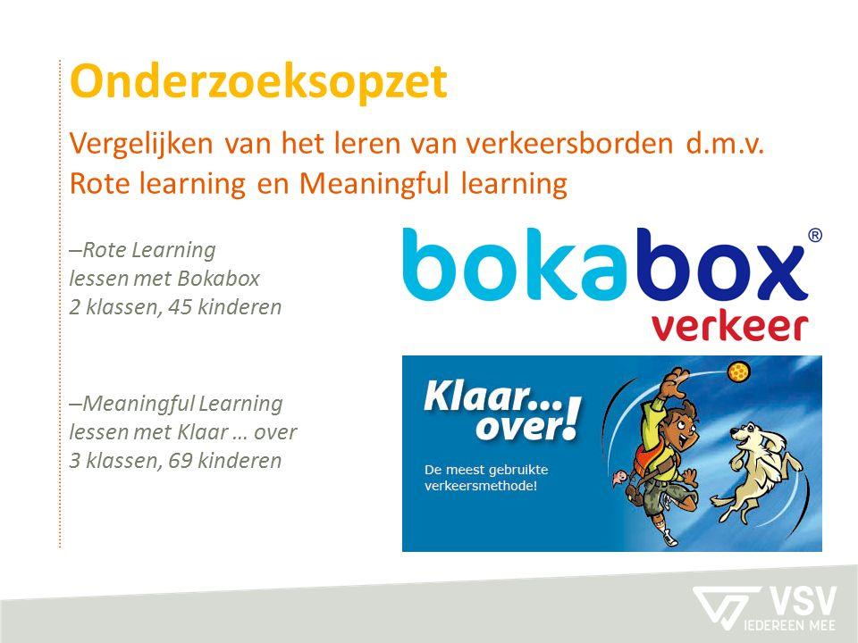 Onderzoeksopzet Vergelijken van het leren van verkeersborden d.m.v. Rote learning en Meaningful learning.