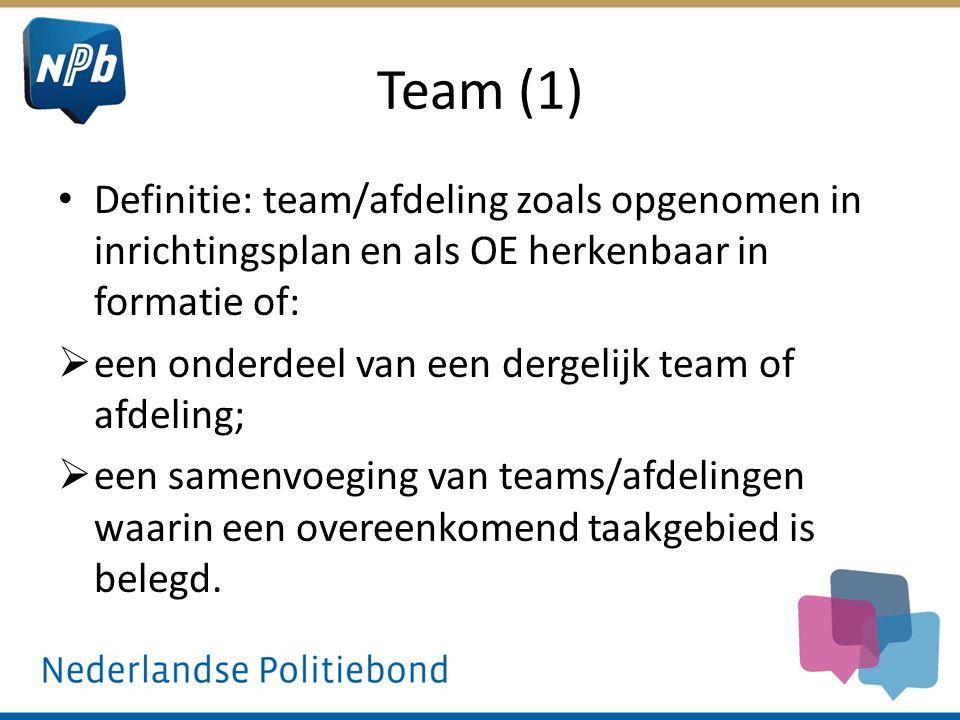 Team (1) Definitie: team/afdeling zoals opgenomen in inrichtingsplan en als OE herkenbaar in formatie of: