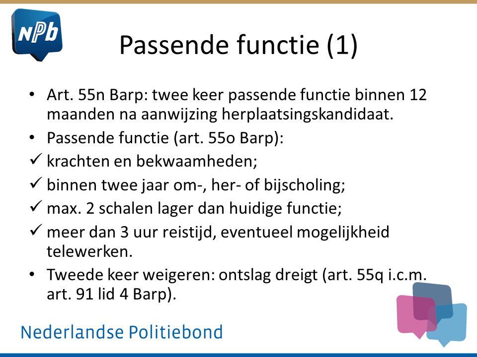 Passende functie (1) Art. 55n Barp: twee keer passende functie binnen 12 maanden na aanwijzing herplaatsingskandidaat.