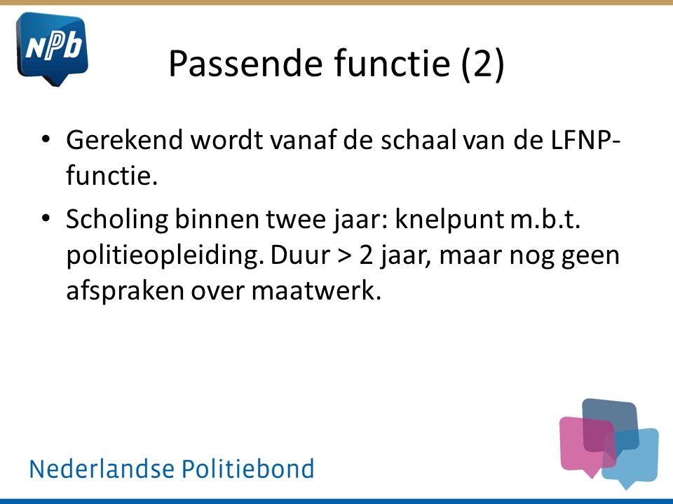 Passende functie (2) Gerekend wordt vanaf de schaal van de LFNP-functie.