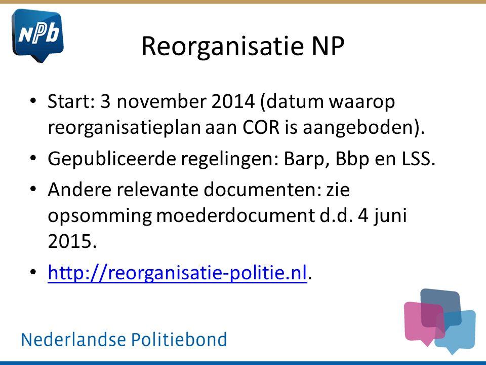 Reorganisatie NP Start: 3 november 2014 (datum waarop reorganisatieplan aan COR is aangeboden). Gepubliceerde regelingen: Barp, Bbp en LSS.