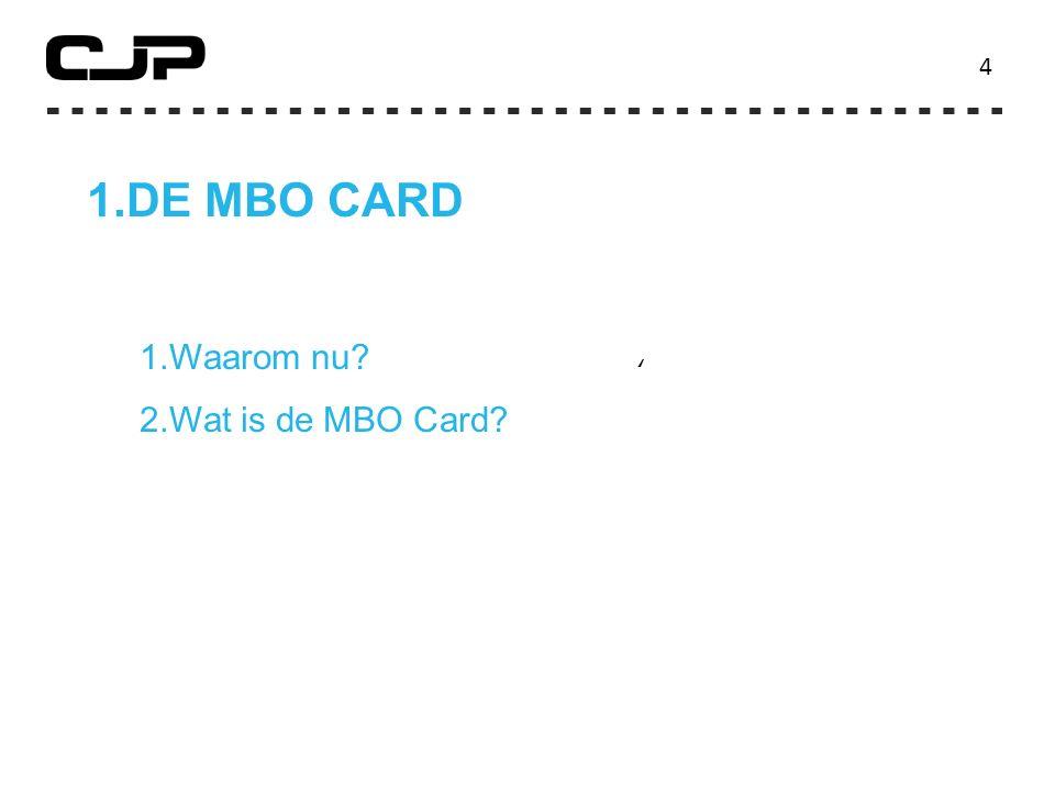 4 DE MBO CARD Waarom nu Wat is de MBO Card '