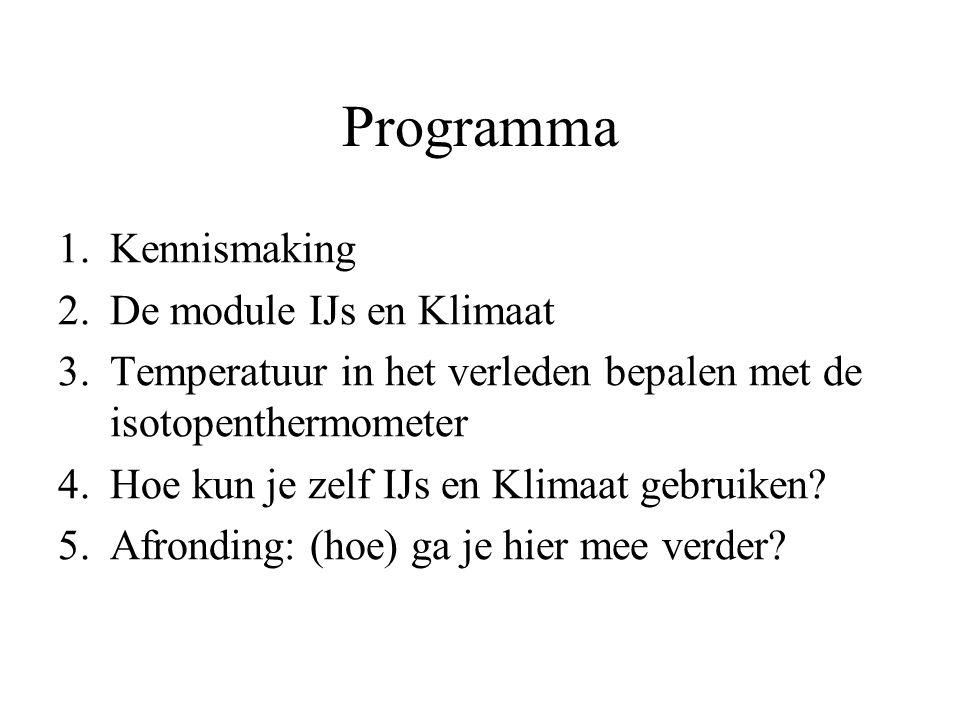 Programma Kennismaking De module IJs en Klimaat