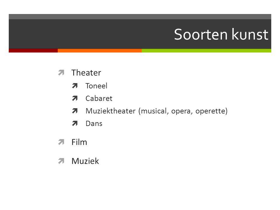 Soorten kunst Theater Film Muziek Toneel Cabaret