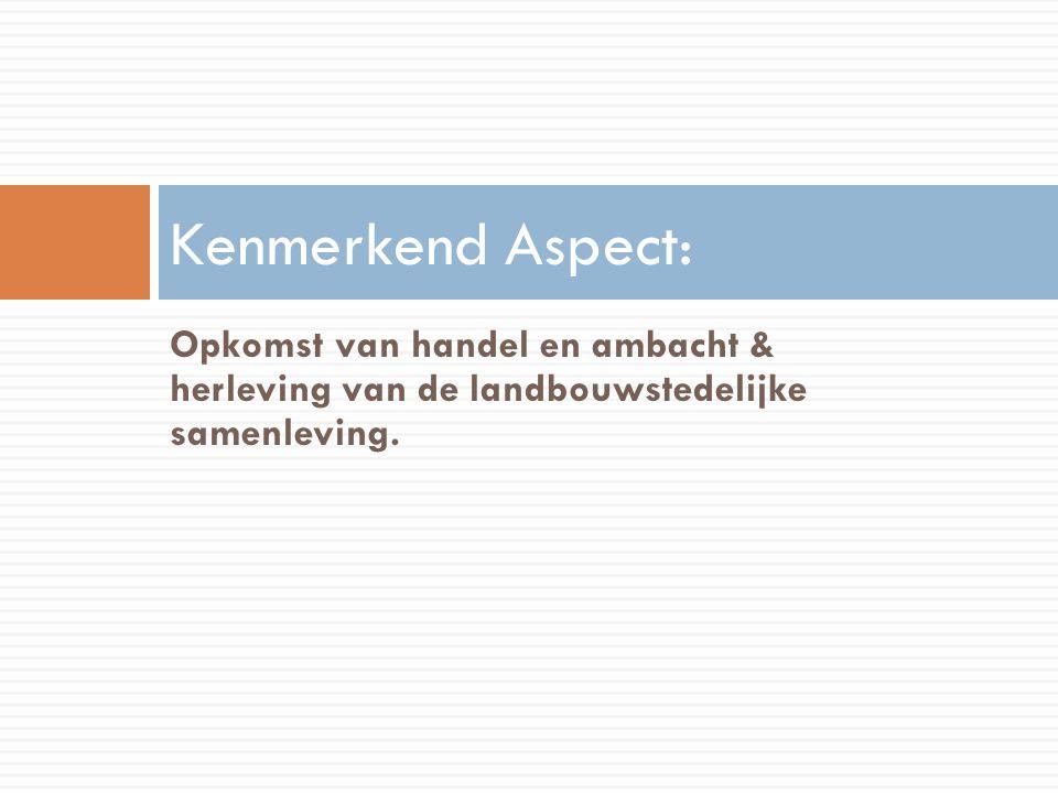 Kenmerkend Aspect: Opkomst van handel en ambacht & herleving van de landbouwstedelijke samenleving.
