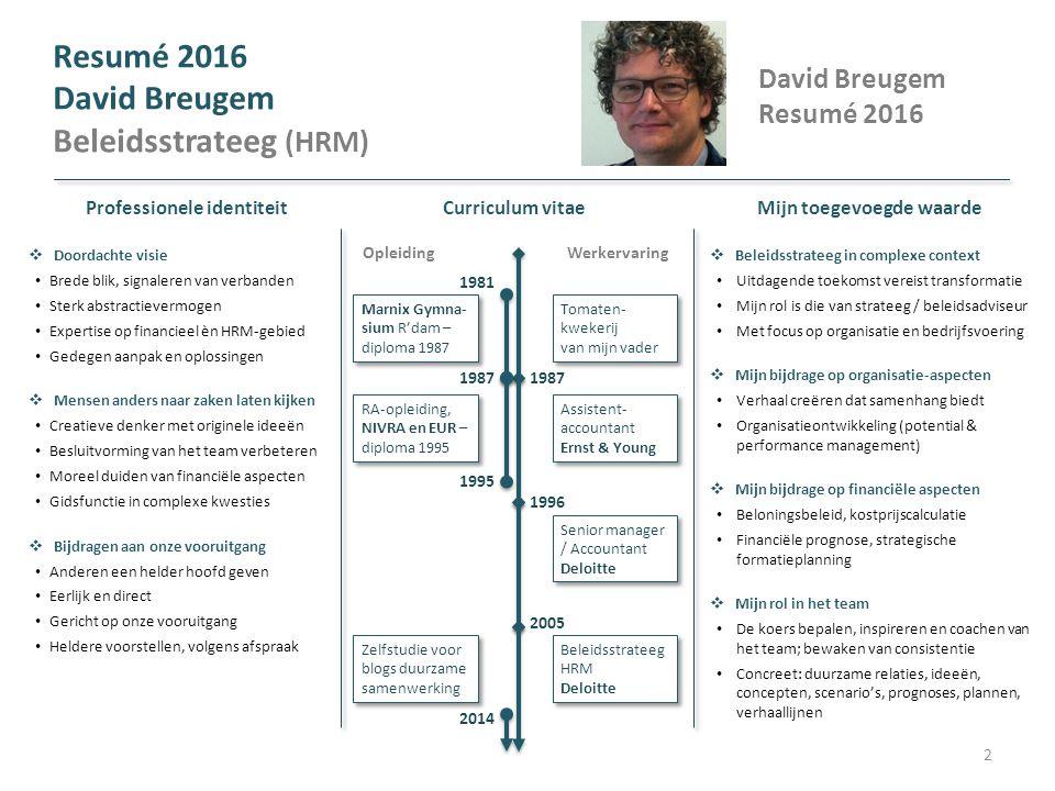 David Breugem Resumé 2016 Beleidsstrateeg (HRM)