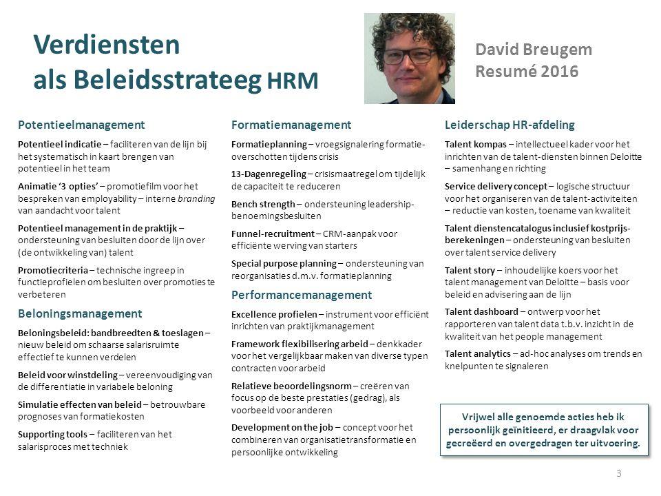 Verdiensten als Beleidsstrateeg HRM