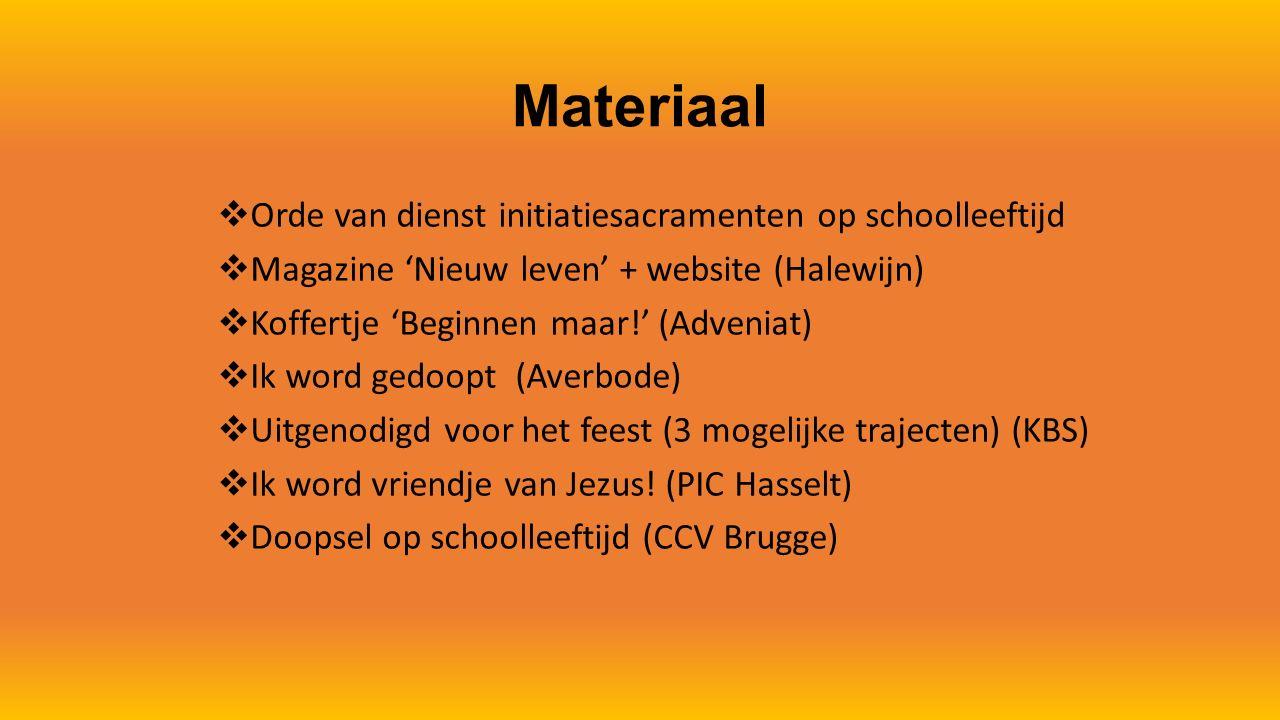 Materiaal Orde van dienst initiatiesacramenten op schoolleeftijd