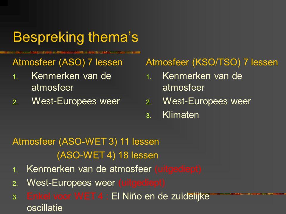 Bespreking thema's Atmosfeer (ASO) 7 lessen Kenmerken van de atmosfeer
