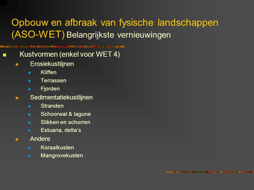 Opbouw en afbraak van fysische landschappen (ASO-WET) Belangrijkste vernieuwingen