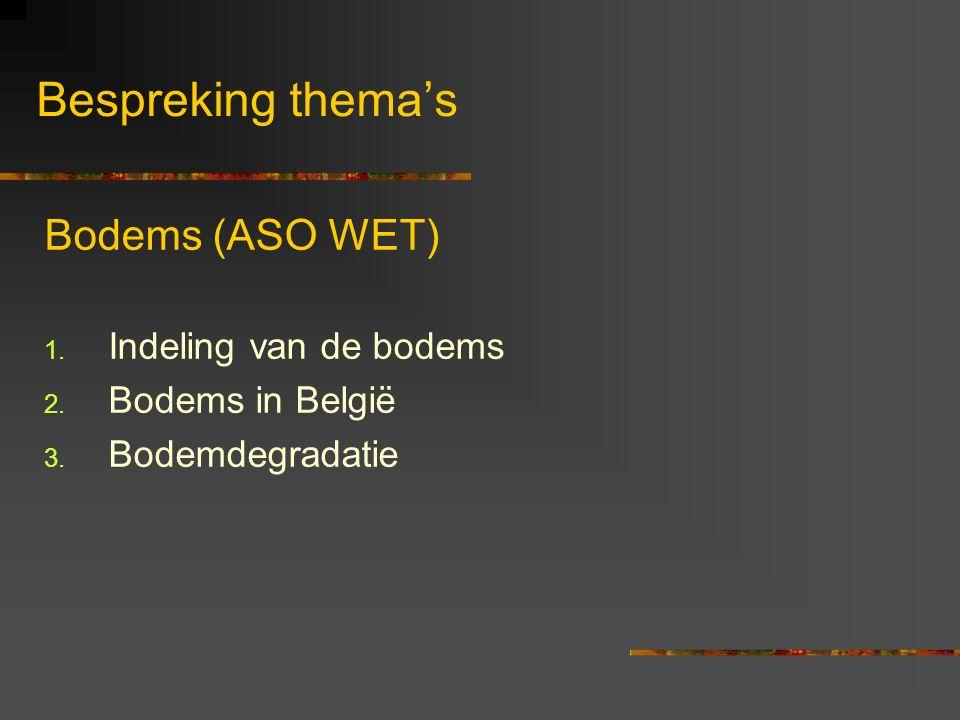 Bespreking thema's Bodems (ASO WET) Indeling van de bodems