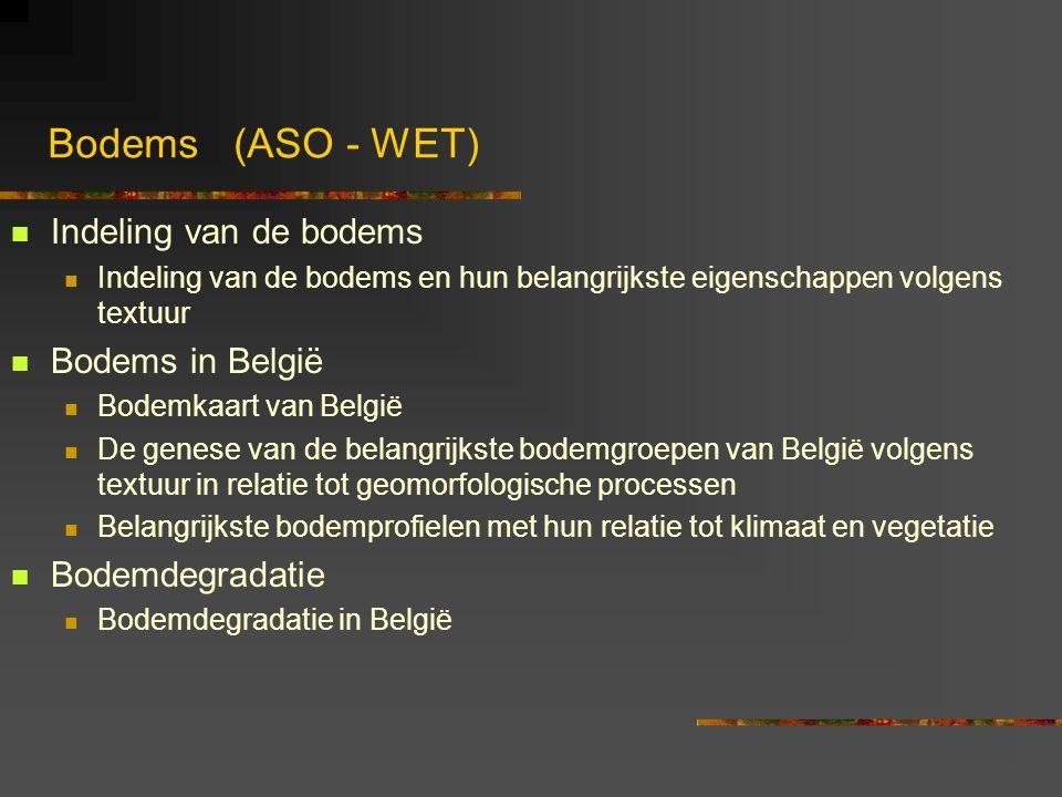 Bodems (ASO - WET) Indeling van de bodems Bodems in België