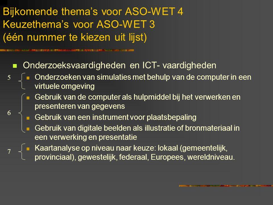 Bijkomende thema's voor ASO-WET 4 Keuzethema's voor ASO-WET 3 (één nummer te kiezen uit lijst)