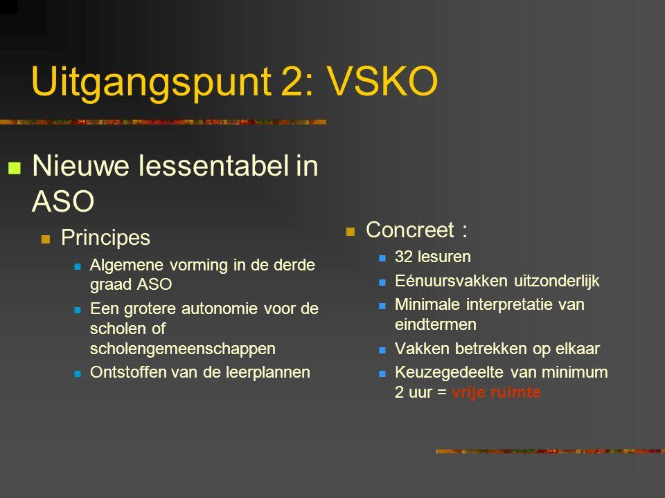 Uitgangspunt 2: VSKO Nieuwe lessentabel in ASO Concreet : Principes