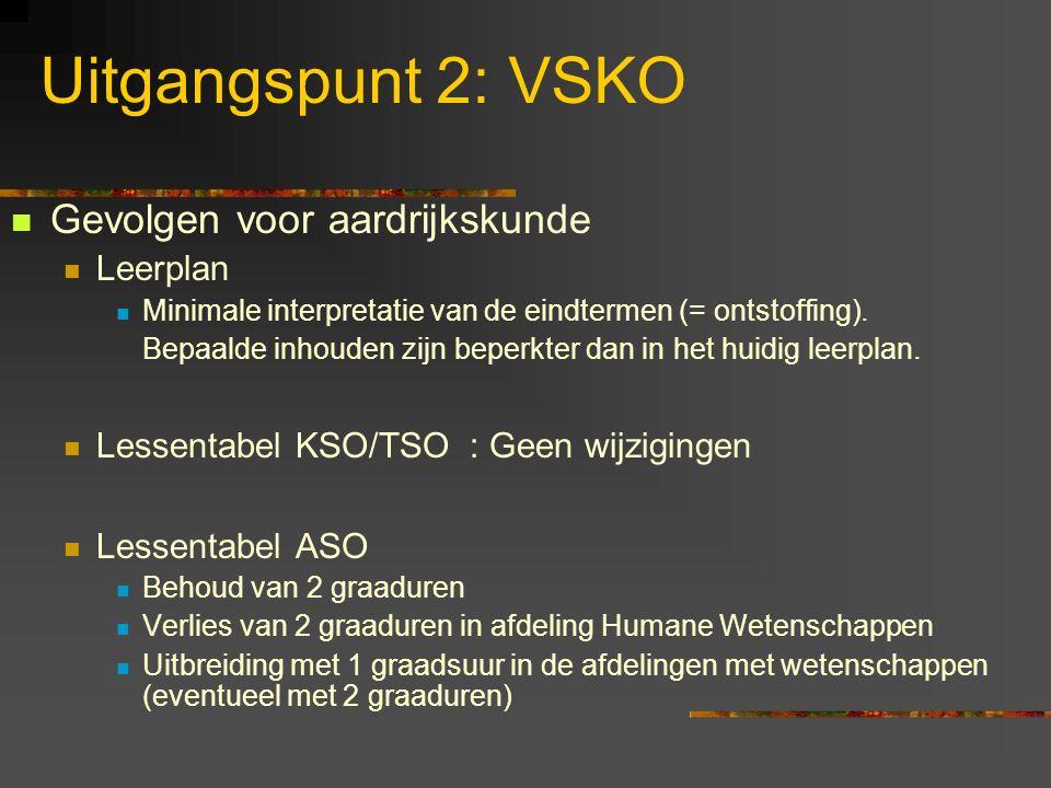 Uitgangspunt 2: VSKO Gevolgen voor aardrijkskunde Leerplan
