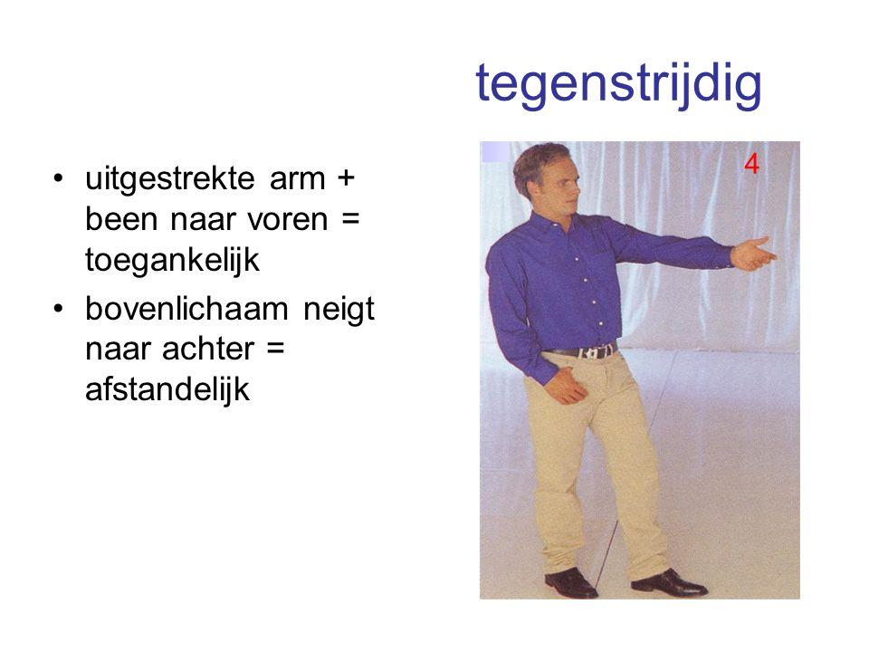 tegenstrijdig uitgestrekte arm + been naar voren = toegankelijk