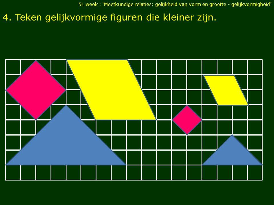 4. Teken gelijkvormige figuren die kleiner zijn.