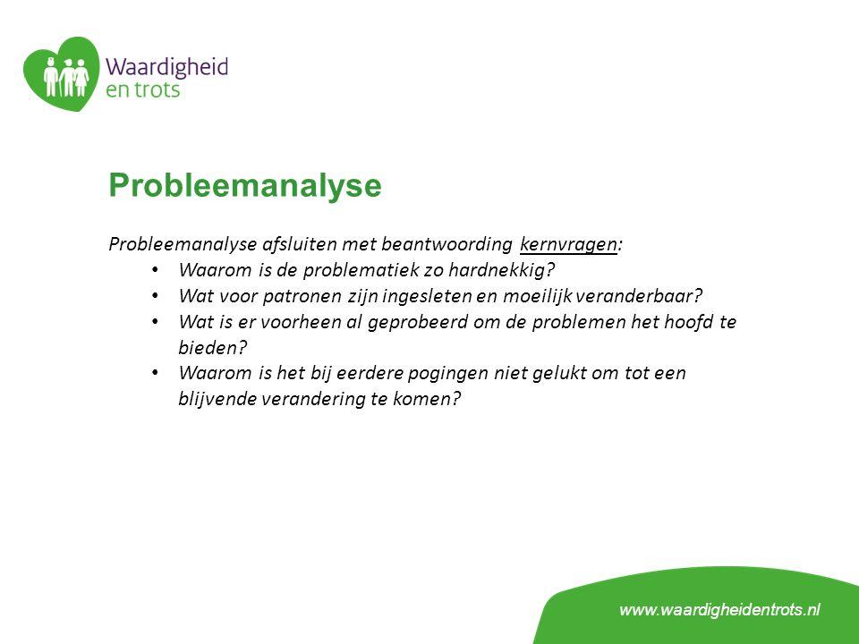 Probleemanalyse Probleemanalyse afsluiten met beantwoording kernvragen: Waarom is de problematiek zo hardnekkig