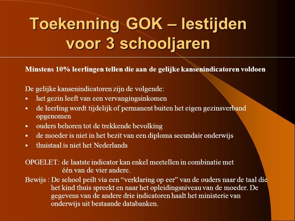 Toekenning GOK – lestijden voor 3 schooljaren