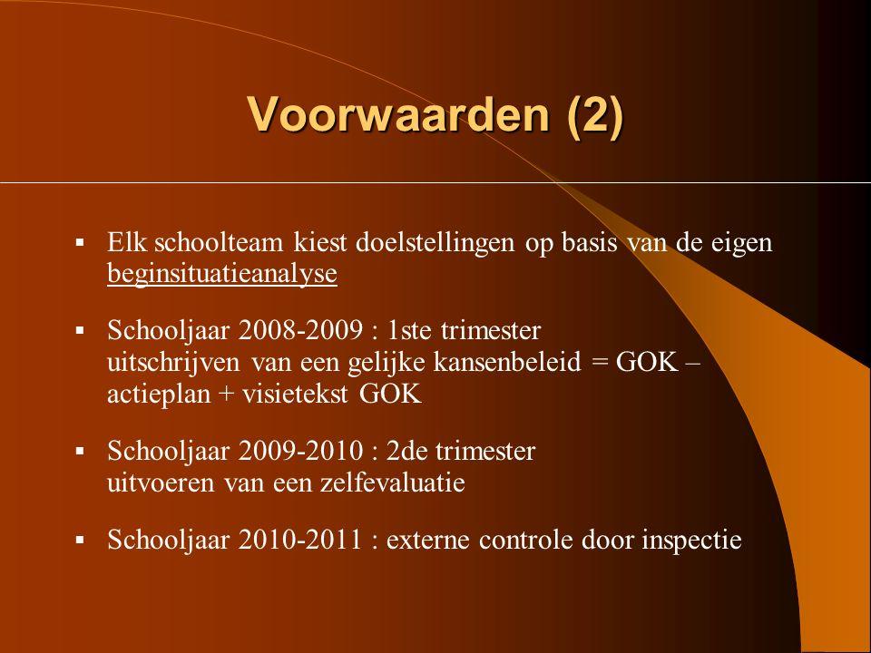 Voorwaarden (2) Elk schoolteam kiest doelstellingen op basis van de eigen beginsituatieanalyse.