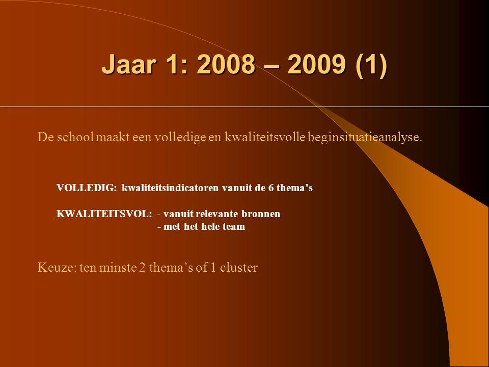 Jaar 1: 2008 – 2009 (1) De school maakt een volledige en kwaliteitsvolle beginsituatieanalyse. VOLLEDIG: kwaliteitsindicatoren vanuit de 6 thema's.