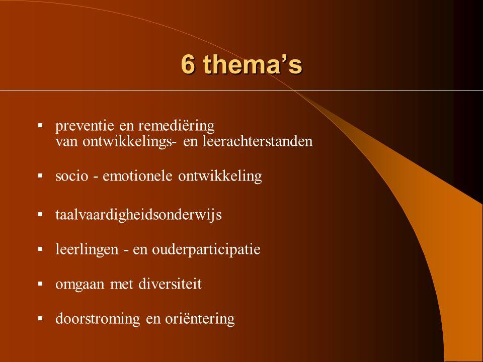 6 thema's preventie en remediëring van ontwikkelings- en leerachterstanden. socio - emotionele ontwikkeling.