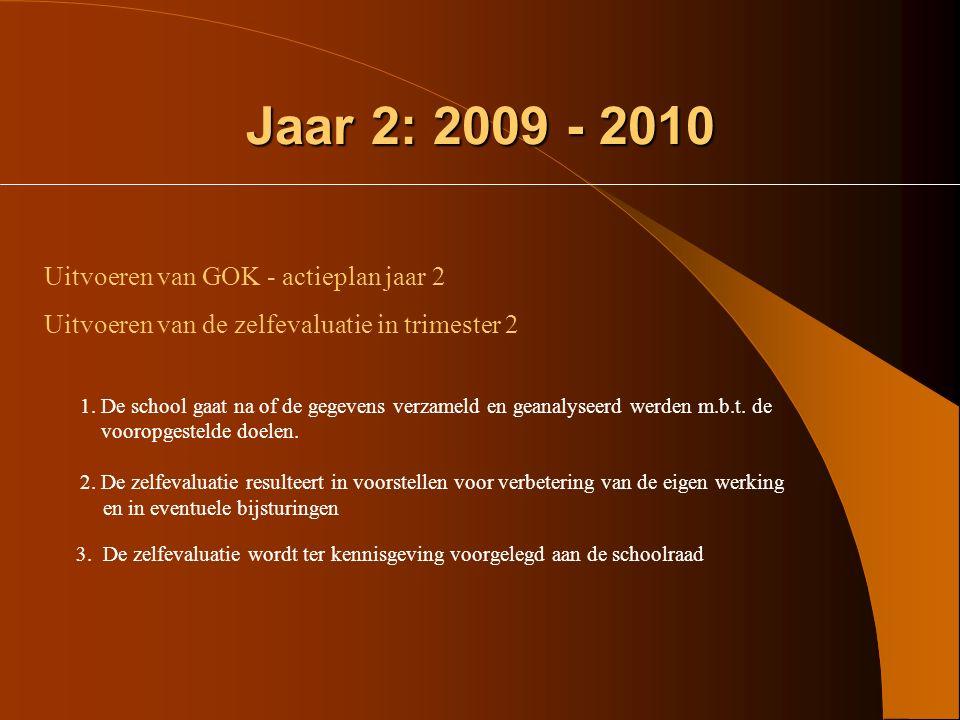 Jaar 2: 2009 - 2010 Uitvoeren van GOK - actieplan jaar 2