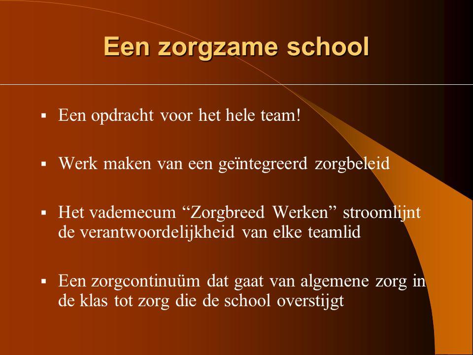 Een zorgzame school Een opdracht voor het hele team!
