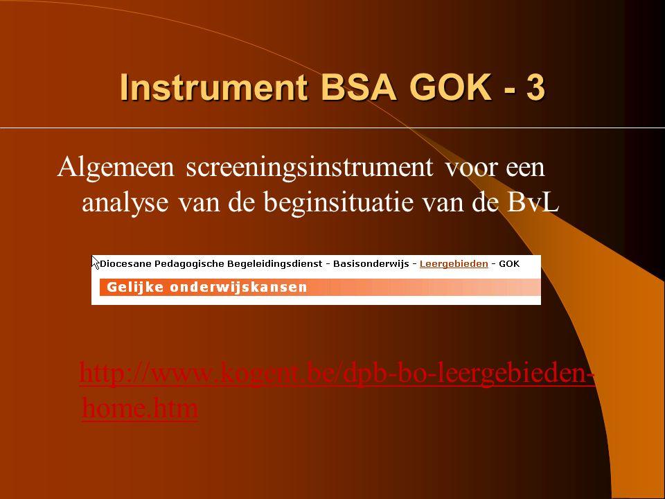 Instrument BSA GOK - 3 Algemeen screeningsinstrument voor een analyse van de beginsituatie van de BvL.