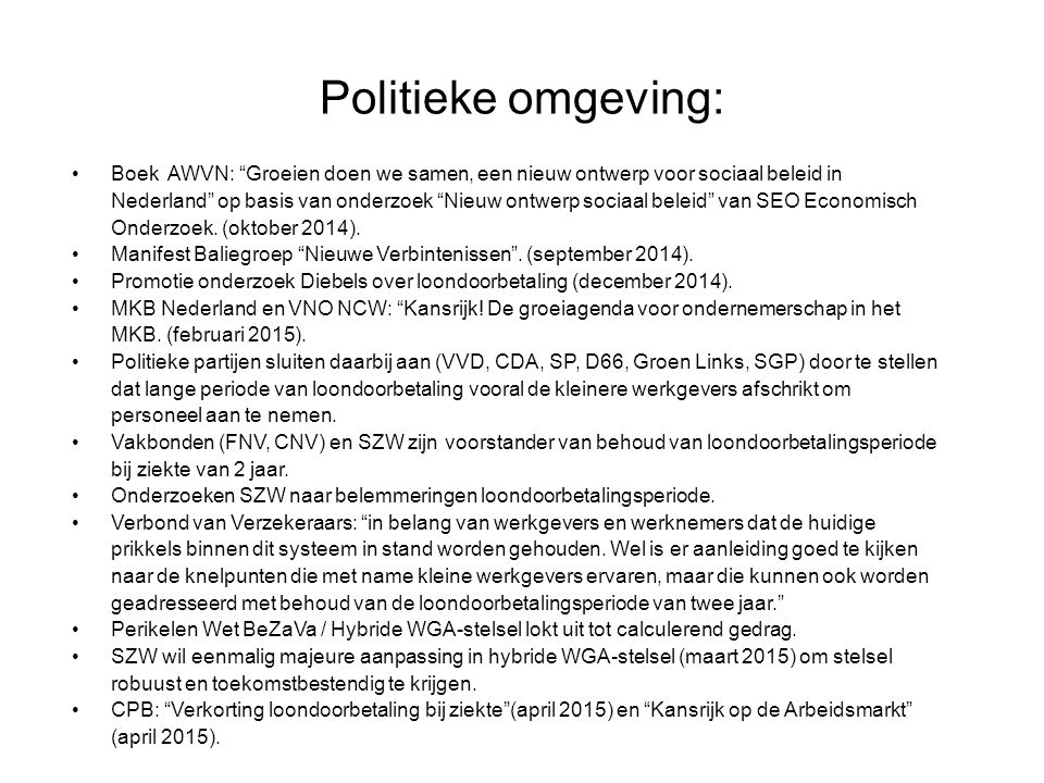 Politieke omgeving: