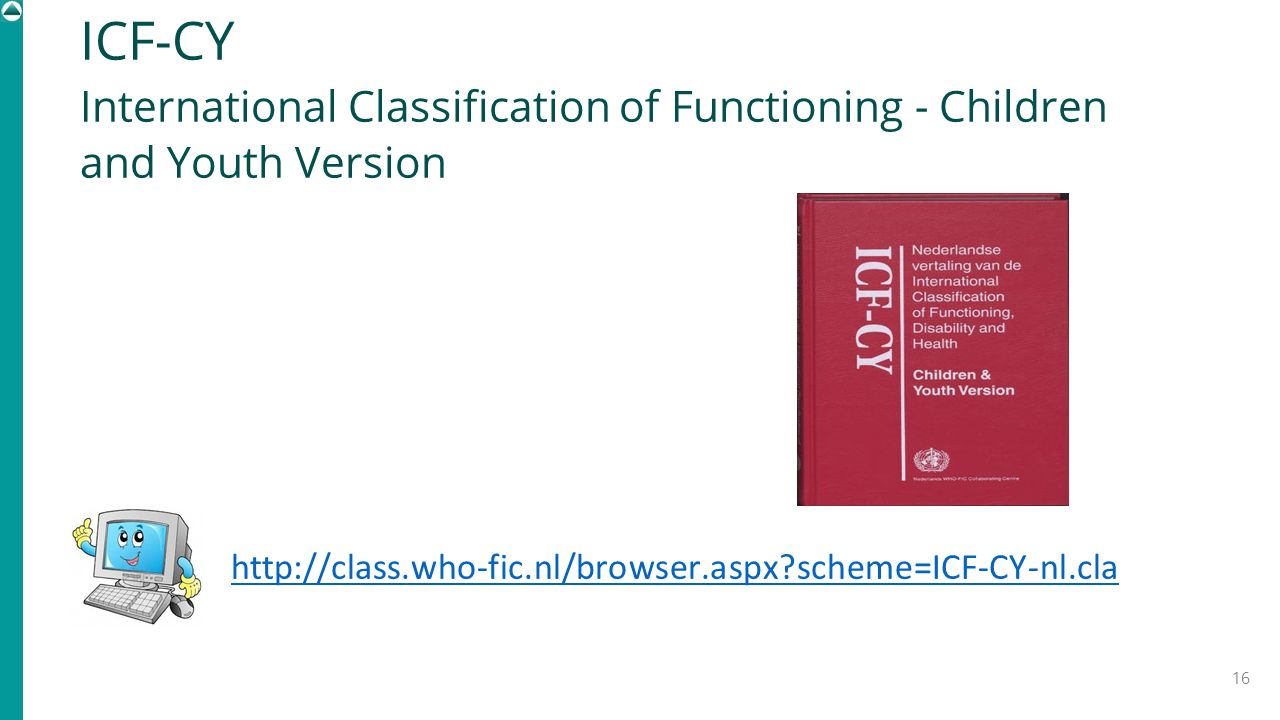 ICF-CY International Classification of Functioning - Children and Youth Version.