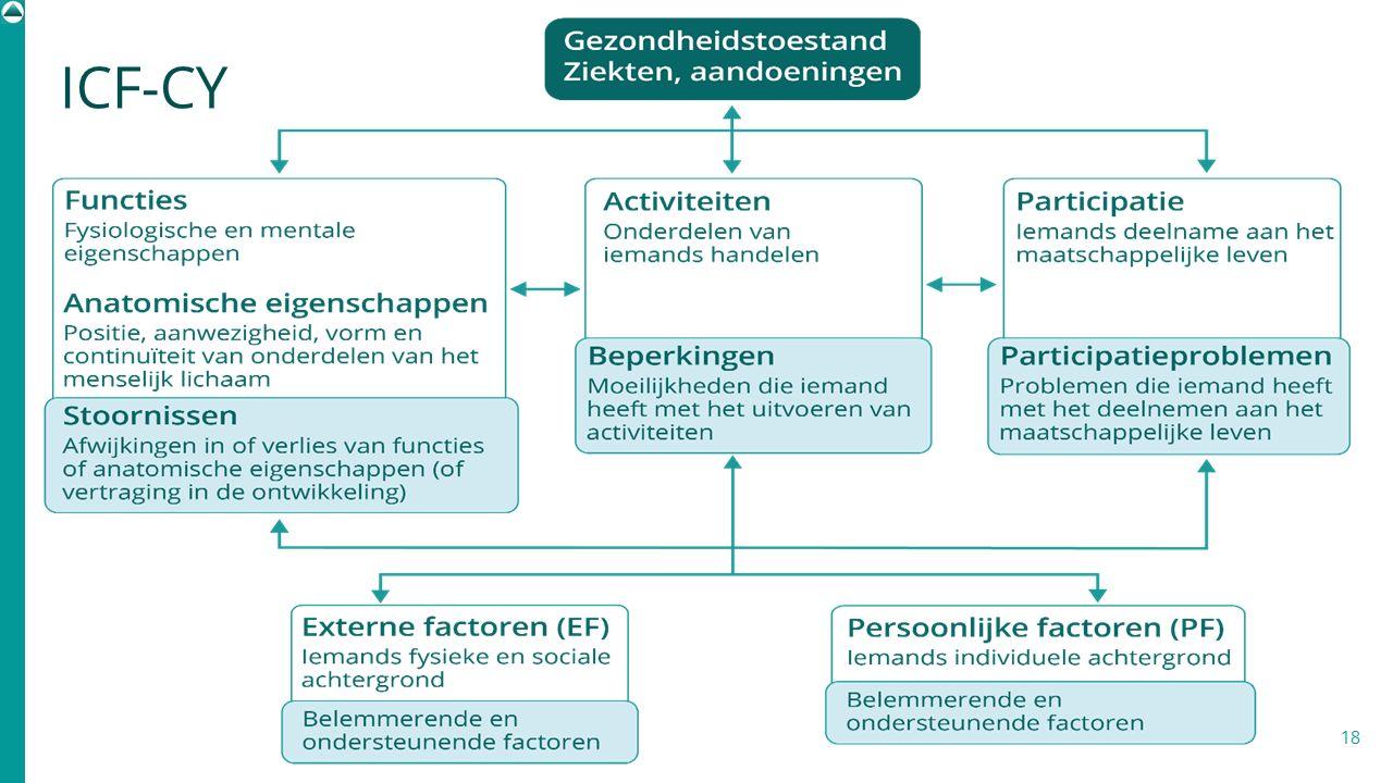 ICF-CY Het ICF kent een eigen begrippenkader om moeilijkheden binnen de verschillende domeinen te omschrijven: